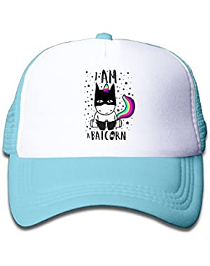 Cute Bat Unicorn Mesh Hat for Boys&Girls Cool Adjustable Kids Cap Pink