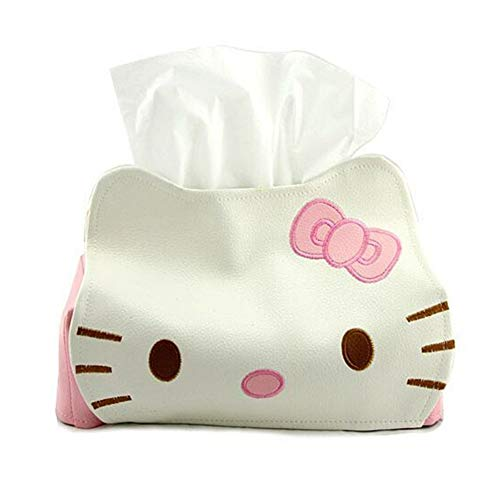 Cartoon pu Leather Tissue Box Holder Cover Cute Leather Car Tissue Holder Hellokitty Leather Tissue Box For Car, Pink Napkins Box Holder Leather Pu Car Facial Tissue Holder Hello Kitty Tissue Box