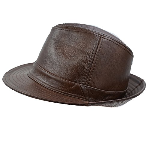IFSUN Men & Women's Cowhide Jazz Hat Short Brim Suede Leather Fedora Hat (Brown, X-large/58-60CM)