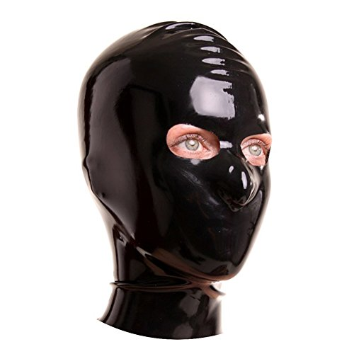 EXLATEX Latex Rubber Fetish Hood Mask with Openings for Eyes (Large, Black)