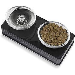 Catit Style - Juego de 2 Cuencos de Vidrio para Mascotas, Negro, Pequeño