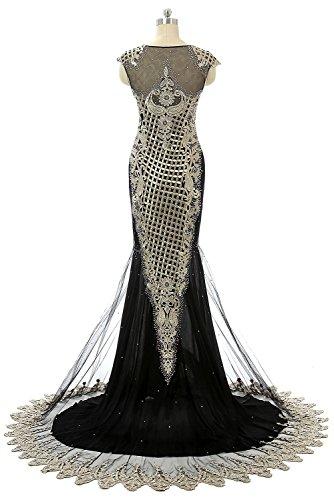 Ikerenwedding - Vestido - corte imperio - para mujer negro
