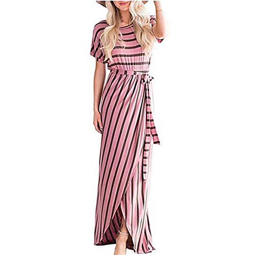 Vaina JIZHI Maxi Blushingpink Mujer Geométrico Vestido Rayas Básico A S SSUqxE0