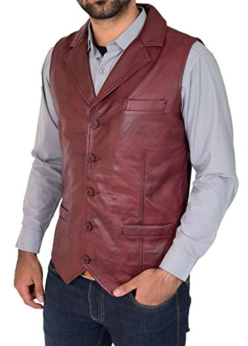Mens Genuine Burgundy Soft Leather Waistcoat Revere Collar Western Vest Yelek Rhys (Small)