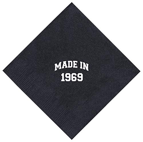 """50th Birthday Gifts Made 1969 50th Birthday Gifts for Centenarians 50 Pack 5x5"""" Party Napkins Cocktail Napkins Black"""