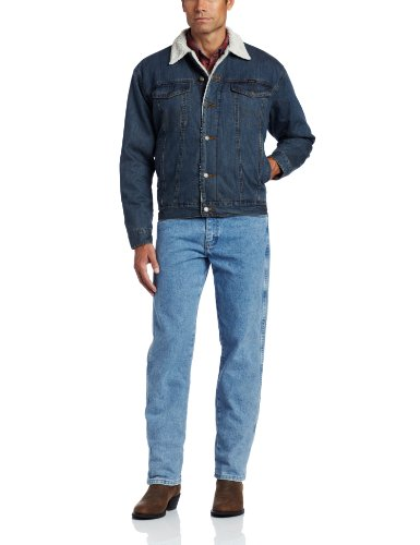 Wrangler Men's Tall Rustic Lined Jacket, Denim/Sherpa, Large/Tall by Wrangler