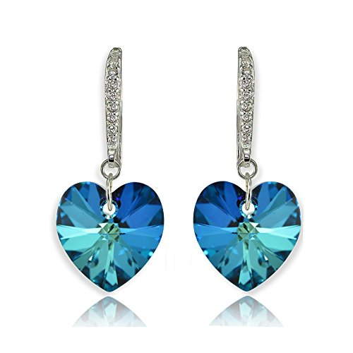 Sterling Silver Bermuda Blue Heart Dangle Earrings Created with Swarovski Crystals - Ring Crystal Bermuda