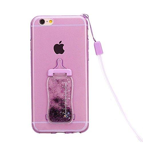 para iPhone 6s Funda, para iPhone 6 Case, Vandot Flexible TPU Protective Carcasa con el Soporte del Orejas de Conejo, 3D Fluido Líquido Quicksands Enchapado Bumper Suave Cubierta del Gel de TPU con la LSNP 05
