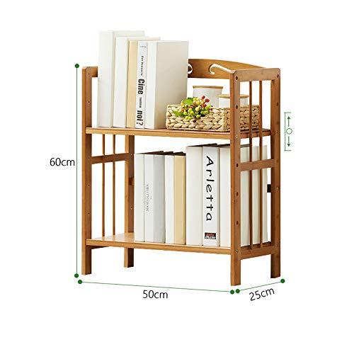 YNN jiazi Wooden Slatted Rack Brown Free Standing Shelf 2 Tier Bookcase Storage Organizer Unit (Size : 50cm)