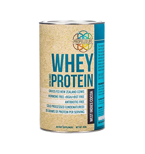 Propello Life Grass-fed, Hormone Free, Antibiotic Free, Whey Protein, West Indies Cocoa, 450 Grams