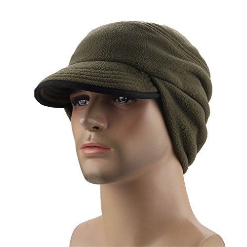 Visor Military Style Cap (Leories Winter Windproof Cap Outdoor Warm Fleece Earflap Hat with Visor Army Green)