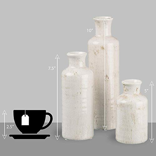 Sullivans Small White Vase Set (Ceramic), Rustic Home Decor, Distressed White, Set of 3 Vases (CM2333). 2
