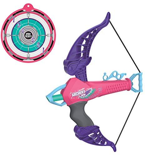 (Pro Star Mini Archery Bow with Target Set, Safe Foam Dart Arrows | Kids Crossbow Toy, Pink/Violet)