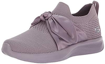 Skechers BOBS Women's Bobs Squad 2-Bow Overlay Slip on Engineered Knit Sneaker W Memory Foam
