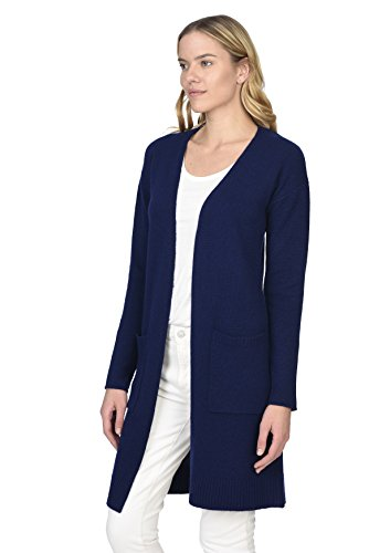 State Cashmere Women's 100% Pure Cashmere Open Front Long Cardigan, Navy, Large by State Cashmere (Image #4)