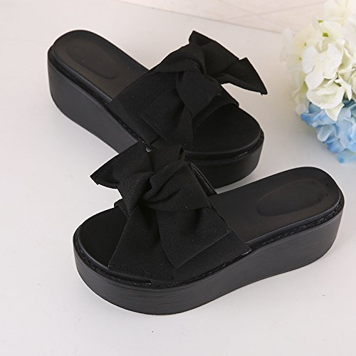 Shoes Black Women's Beach Slippers and High fankou Are Slope 37 Slippery Sandals Cool to The Thick Summer Anti Heel Un77fOx