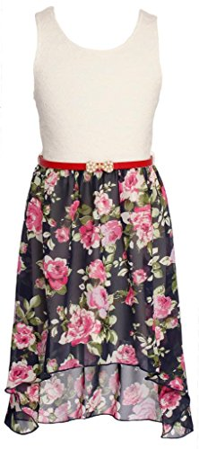 Wonder Girl HMFL Big Girls' Floral Lace Chiffon High Med-Low Dress Belt Set Navy 10