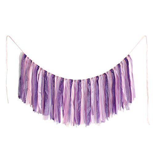 AZOWA Assembled Cotton Tassel Garland Purple For Wedding/ Bachelor/ Engagement/Baby Shower Decorations Party Supplies Backdrops Photo Props