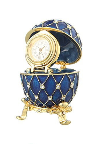 Russian Faberge Style Egg / Trinket Jewel Box Grid with clock 2.4'' blue