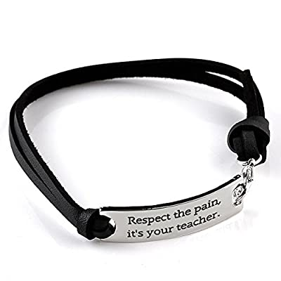"""Motivational Leather Bracelet 10'' - """"Respect the pain, it's your teacher"""" - Personalized Jewelry"""