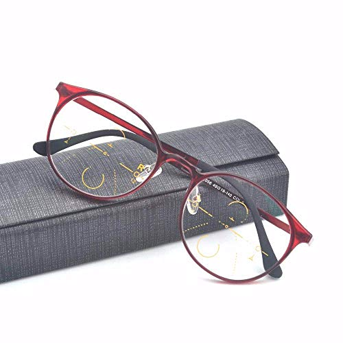 Blue Light and Antifatigue Progressive Multifocal Reading Glasses Women Men Reader Bifocal Eyeglasses with Box (RED, 1.25)