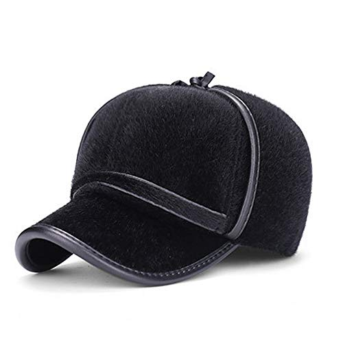 Happy-L Hat, Europe and The United States Export Winter Outdoor Thick Warm Earmuffs Men's Middle-Aged Imitation Mane Baseball Cap Lei Feng Hat Baseball Cap,Leisure Fashion Cap.