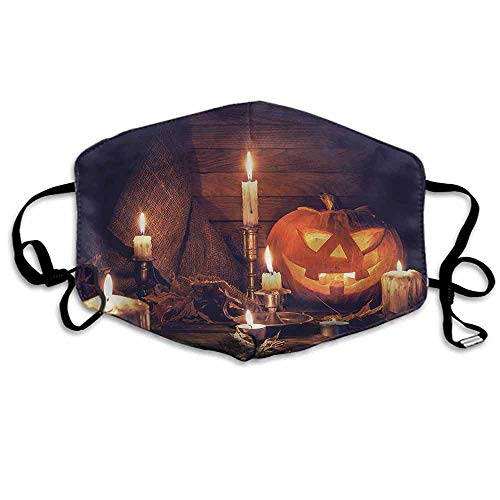 Halloween Dust Mouth Mask Wood Planks and Candles for Men and Women W4