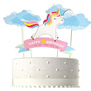 Blue Handmade Unicorn Birthday Cake Toppers, Cake Decorations for Kids Birthday Party Supplies