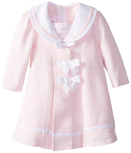 Bonnie Baby Baby Girls' Houndstooth Check Coat and Dress, Pink, 24 Months (Check Houndstooth Pink)