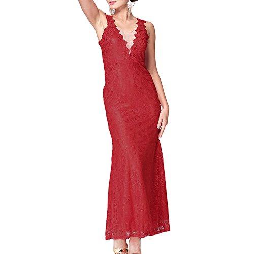 Zhuhaixmy Damen VAusschnitt Lace ALinie Kleid Vintage Ärmellos ...