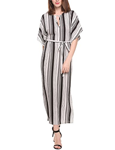 Angvns Womens Keyhole Striped Belted