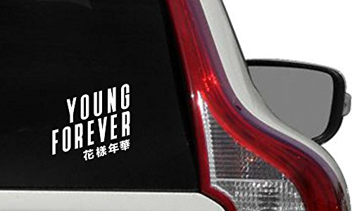 BTS Song Young Forever Car Vinyl Sticker Decal Bumper Sticker for Auto Cars Trucks Windshield Custom Walls Windows Ipad Macbook Laptop Home and More (WHITE)