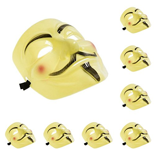 [Set of 8 Yellow V for Vendetta Guy Fawkes Anonymous Costume Cosplay Masks] (V Costume For Sale)