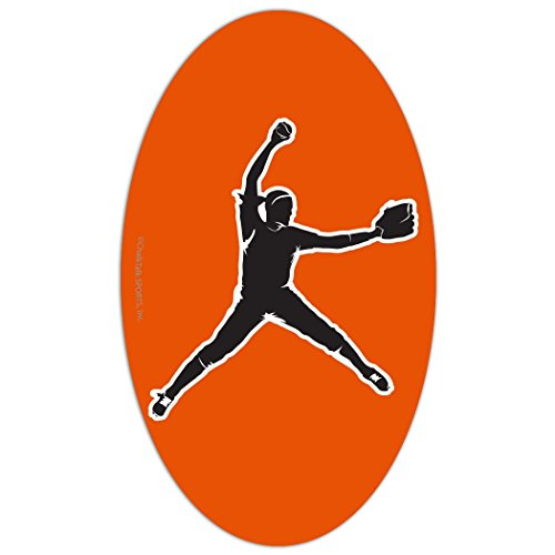 ChalkTalkSPORTS Softball Car Magnet | Softball Pitcher Silhouette | Orange