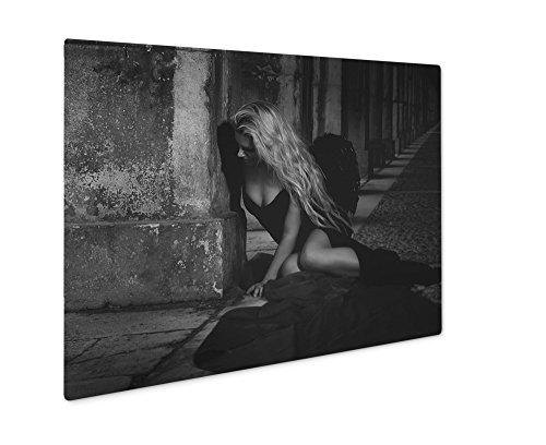 Ashley Giclee Fallen Angel In Dress With Black Wings, Wall Art Photo Print On Metal Panel, Black & White, 24x30, Floating Frame, (Fallen Angel Halloween Hair)
