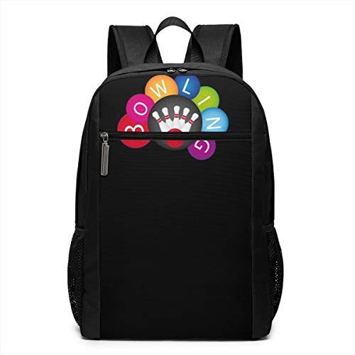 Bowling Ball Clipart Laptop Computer Backpack 17 Inch Fashion Casual Travel Daypack Laptop Bag for Women Men