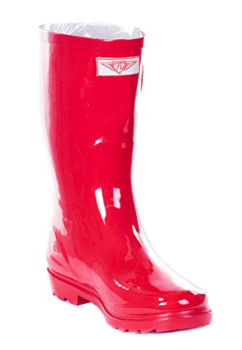 Forever Young Women Mid-Calf Red Rubber Rain Boot, 8