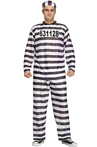 (FunWorld Jailbird Or Prisoner, Black, One Size)