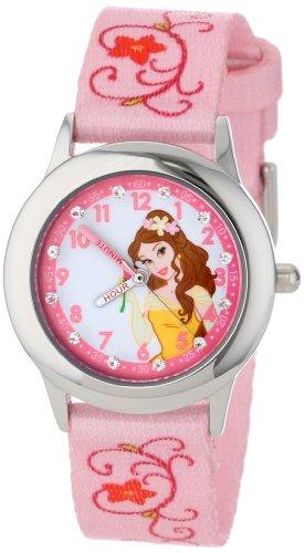 Disney Kids' W001039 Belle Glitz Stainless Steel Printed Strap Watch
