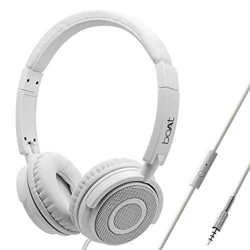 boAt BassHeads 900 On-Ear Wired Headphone with Super Extra Bass, in-line Mic, Snug Fit and Lightweight Foldable Design (Pearl White)