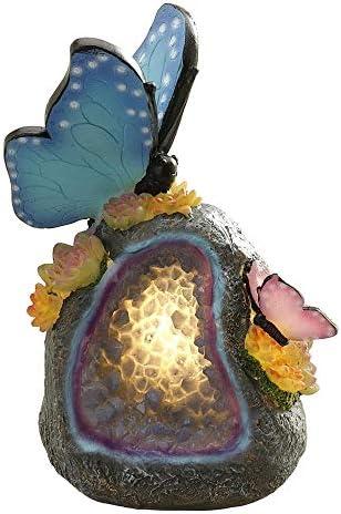 お庭の置物 屋外のガーデンソーラー動物蝶LEDナイトライト庭置物ランプ細道の装飾のための家 庭、庭、パティオ用 (Color : 1, Size : One size)