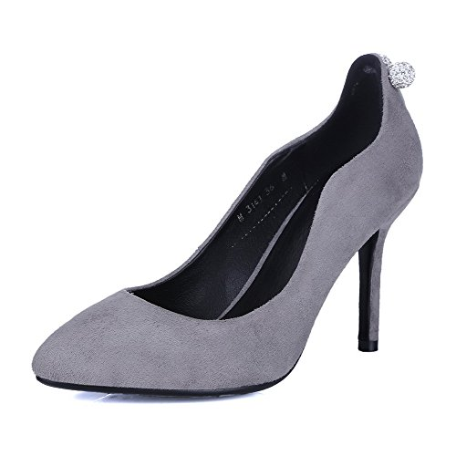 AmoonyFashion Womens Pull-on High-Heels Imitated Suede Solid Closed Pointed Toe Pumps-Shoes Gray PfU5Iv5PSH