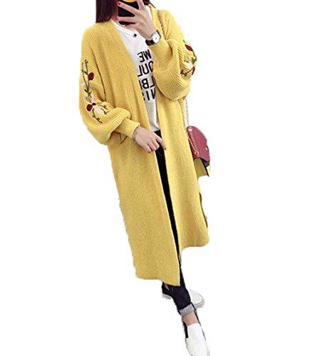 topmodelssレディース Vネック ロング カーディガン 花柄 刺繍 パフ スリーブ カジュアル 長袖 ゆったり カーディガン