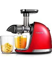 AMZCHEF Slow Juicer BPA-Fri Juicer, GröNsaks- Och Fruktproffspress Med Tyst Motor & Backfunktion & Juicekanna & RengöRingsborste (150 Watt / Röd)
