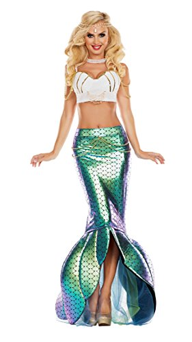 Party King Women's Under The Sea Mermaid Costume, Turquoise/White, (Ladies Mermaid Costume)