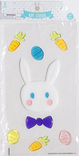 Easter Window Gel Clings 1 Bunny with Purple Bow Tie, Carrots & Eggs (1 Sheet with 11 Clings) Easter Eggs Tie