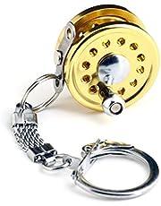 SupplyEU Miniature Fishing Reel Key Ring Key Chain Keyring Gold