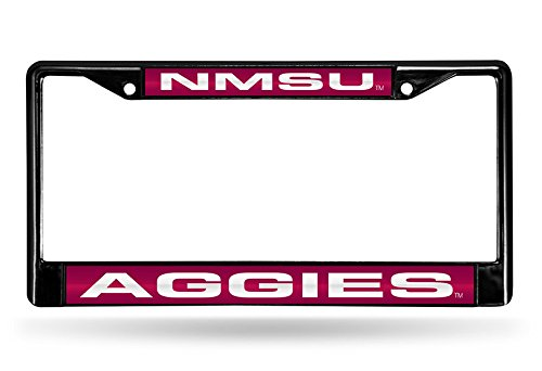 Aggies State Top - NCAA New Mexico State Aggies Laser Cut Inlaid Standard Chrome License Plate Frame, Black