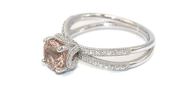 Amazon Com Morganite Engagement Ring Diamond Wedding Ring Disney Princess Cinderella Ring Split Shank Engagement Ring Morganite White Gold Ring Handmade