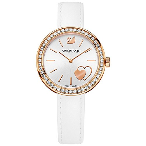Ladies' Swarovski Crystal Daytime White Heart Watch 5179367 - Swarovski Crystal Heart Watch